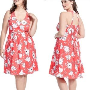 City Chic Floral Halter Peach Dress Fit Flare Xxl